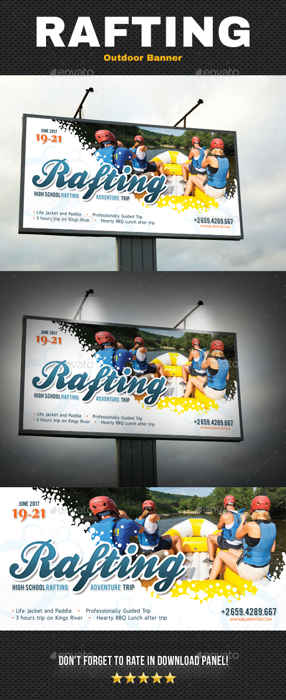 Rafting Outdoor Banner V2 - Signage Print Templates