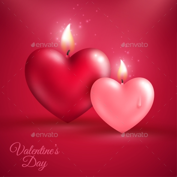 Two Heart Shape Candles on Red Background - Valentines Seasons/Holidays