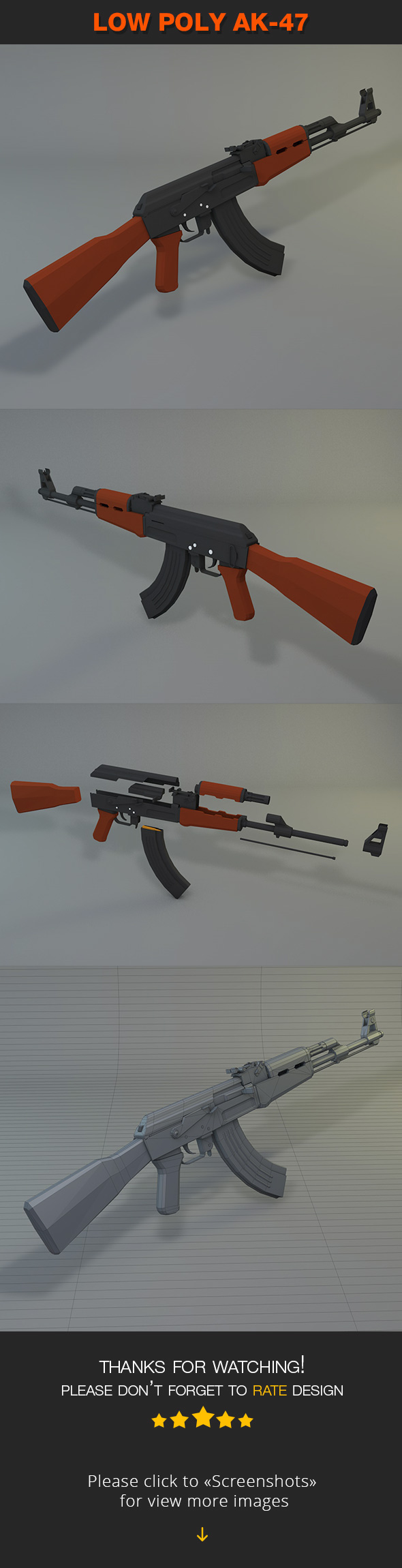 Low Poly AK-47 - 3DOcean Item for Sale