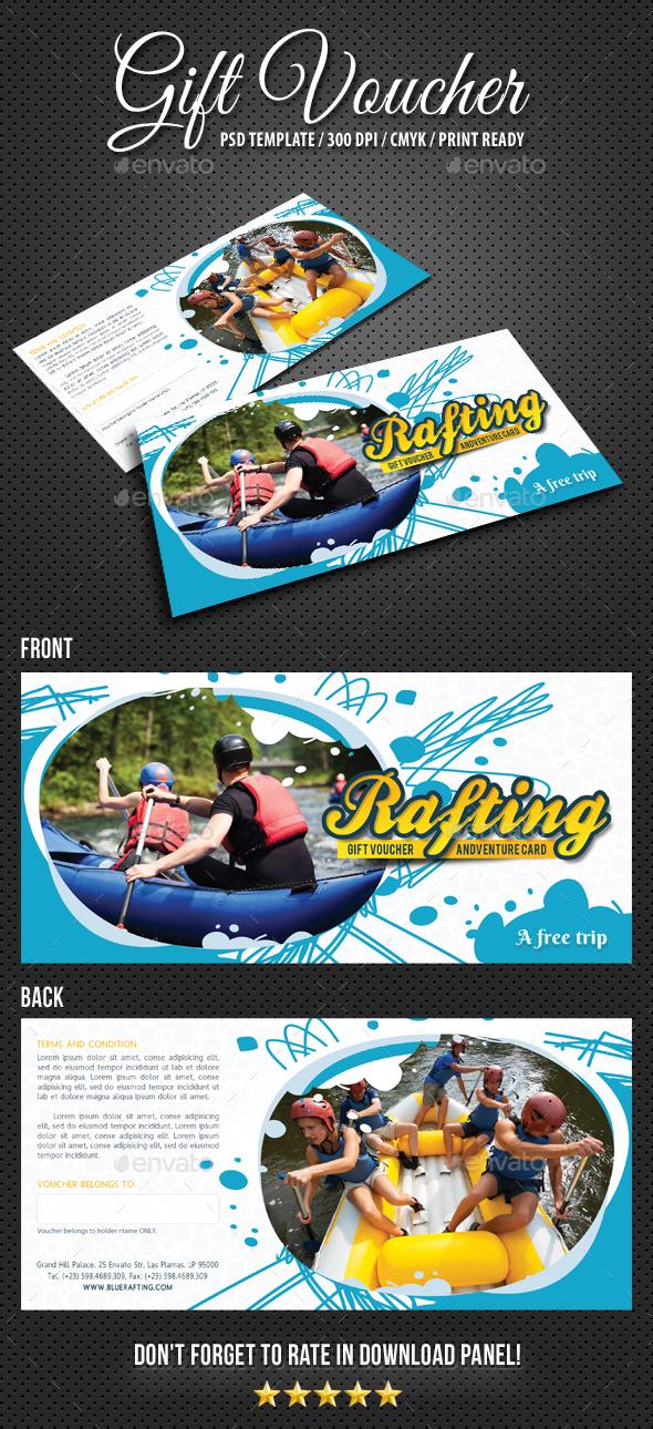 Rafting Gift Voucher V1 - Cards & Invites Print Templates