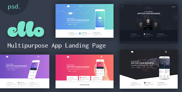 ELLO - Multipurpose App Landing PSD Template - Technology PSD Templates
