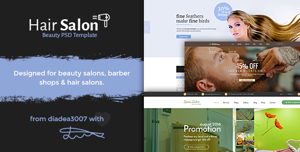 Hair Salon - Beauty PSD Template - Health & Beauty Retail