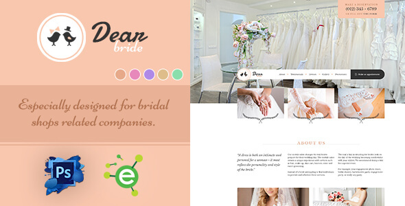 Dear Bride - One Page Wedding Salon PSD Template - Events Entertainment