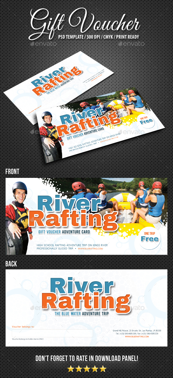 Rafting Gift Voucher V2 - Cards & Invites Print Templates