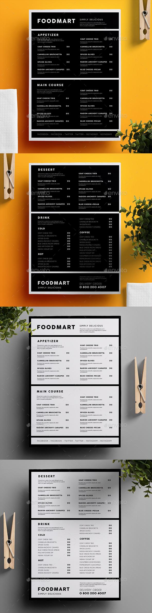 Simple Restaurant Menu 03 - Food Menus Print Templates