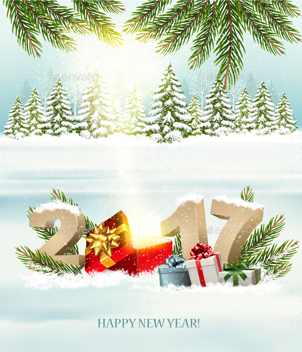 Happy New Year 2017! New Year Design Template Vector - New Year Seasons/Holidays