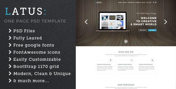 Latus – one page portfolio psd template