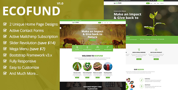 EcoFund – Nonprofit Environment Recyling Solar HTML5 Template