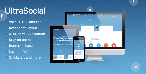 UltraSocial – Social Media Marketing Onepage / Landing Page Template