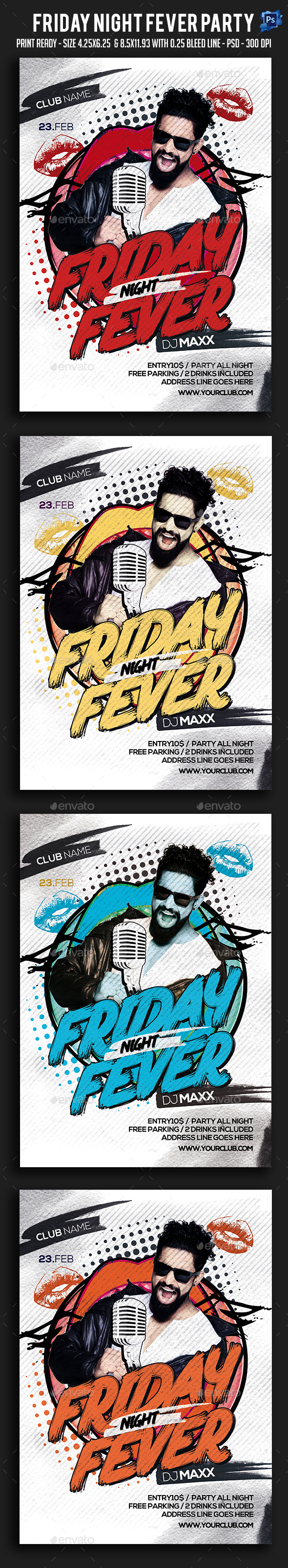 Friday Night Fever Party Flyer - Clubs & Parties Events