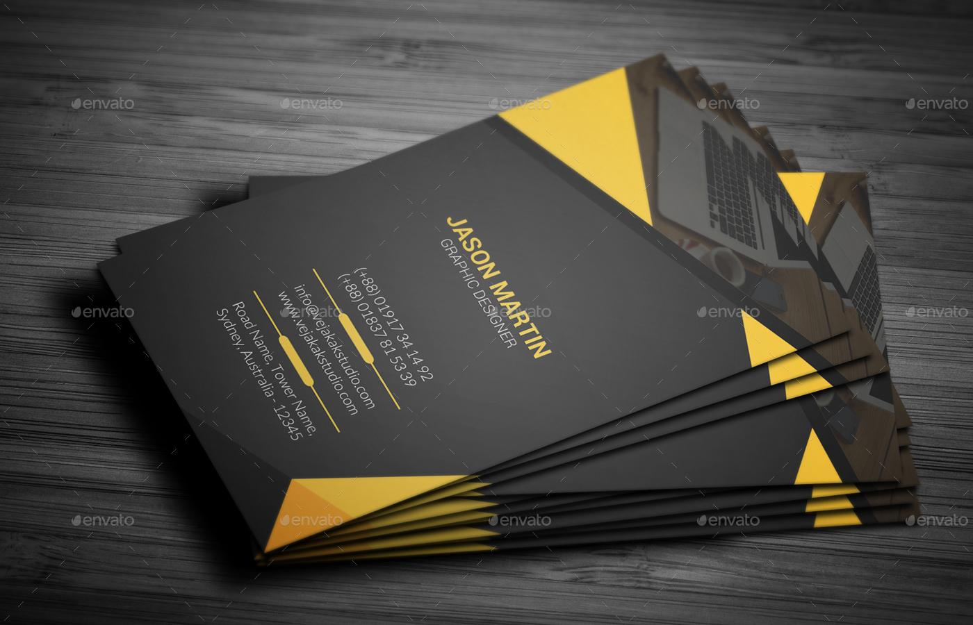 Vertical Business Card Bundle by vejakakstudio | GraphicRiver