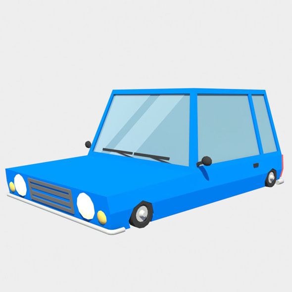 blue car low poly - 3DOcean Item for Sale