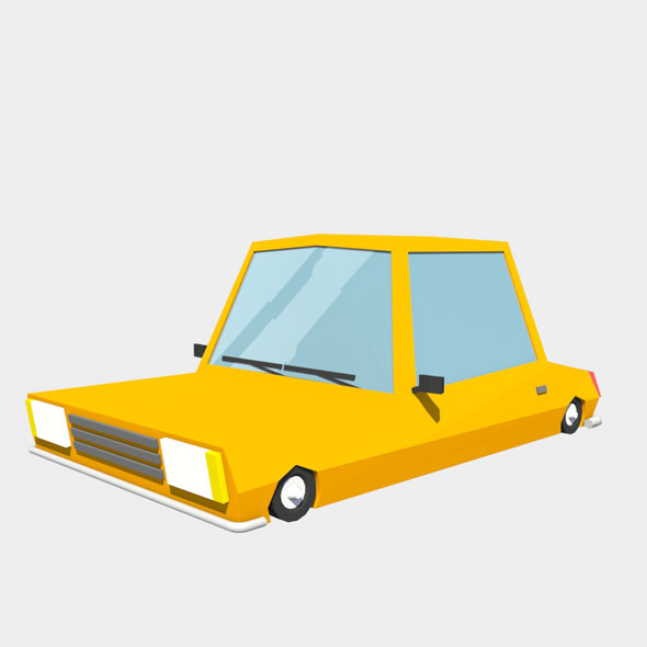 orange car low poly - 3DOcean Item for Sale