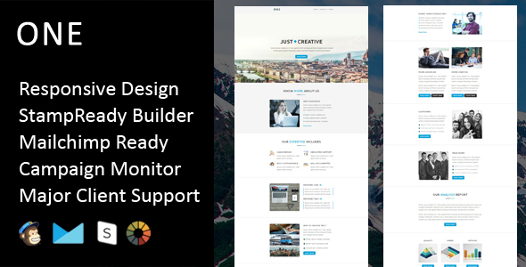 One – Multipurpose Responsive Email Template + Stampready Builder