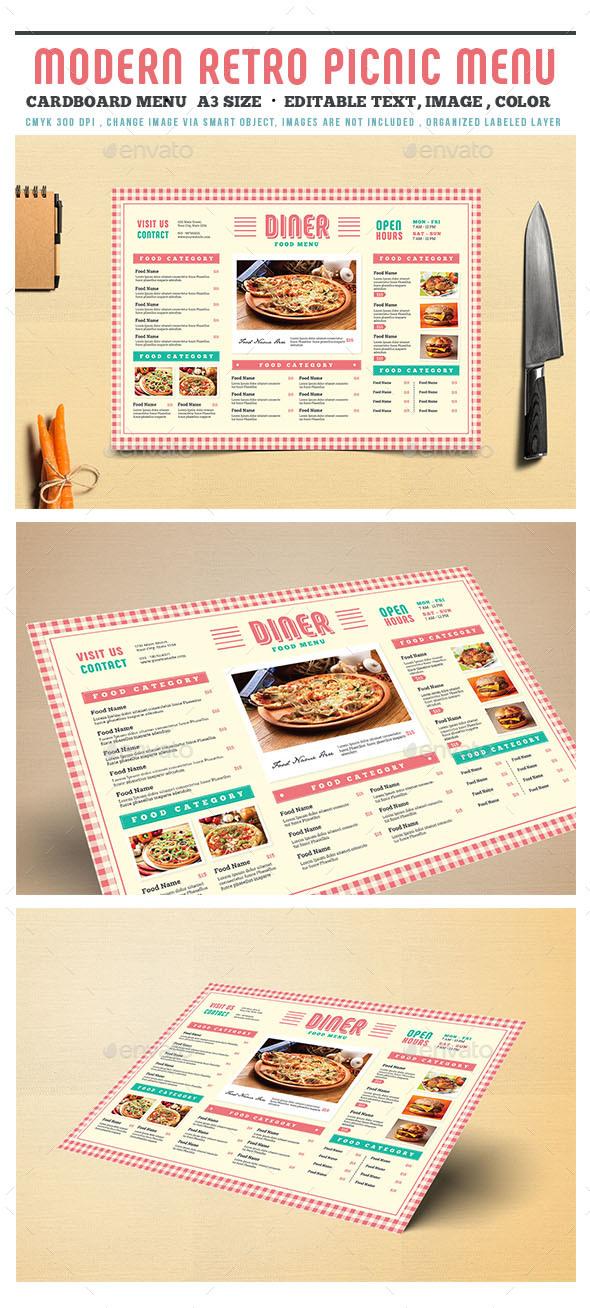 Modern Retro Picnic Cardboard Menu - Food Menus Print Templates