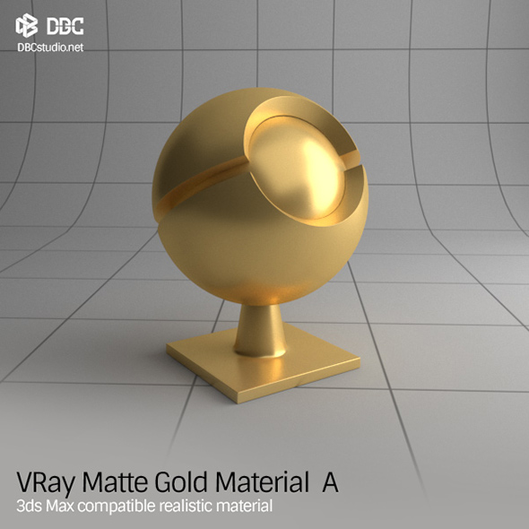 3ds Max V-Ray (Ver 3.4) Matte Gold Material A - 3DOcean Item for Sale