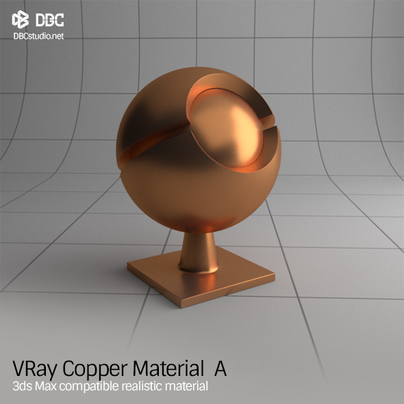 3ds Max V-Ray (Ver 3.4) Copper Material  A - 3DOcean Item for Sale