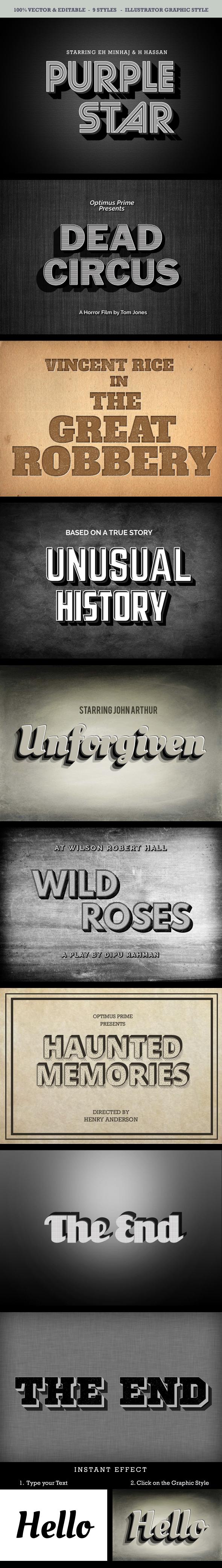 Vintage Movie Style - Illustrator Add-ons