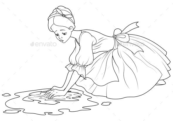Sad Cinderella Wash the Floor - Characters Vectors