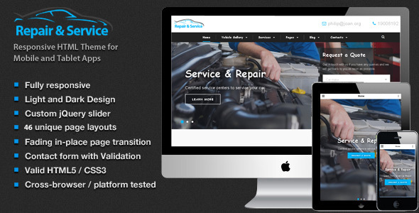 Repair & Service Car – Theme for Mechanic Workshops, Auto Repair and Cars