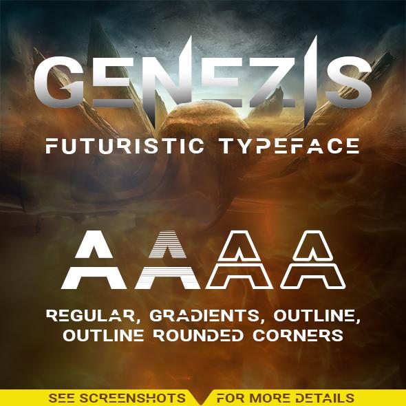 Genezis Typeface - Futuristic Decorative