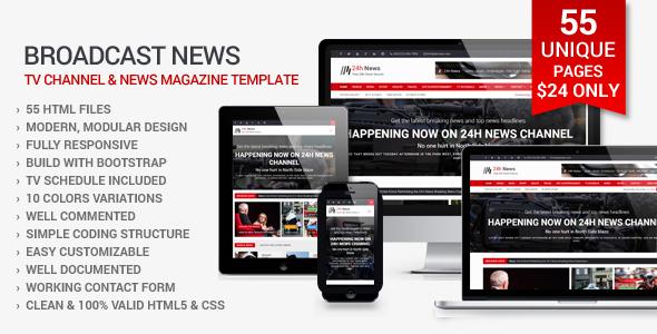 24h News - Broadcast News TV Channel and News Magazine Template - Corporate Site Templates
