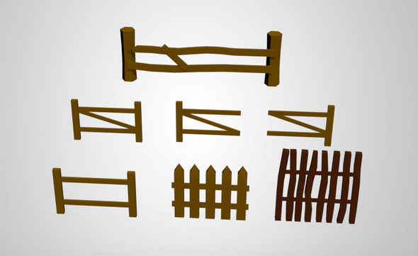 Low Poly Fences - 3DOcean Item for Sale