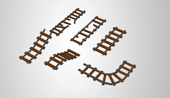Low Poly Train Rails - 3DOcean Item for Sale