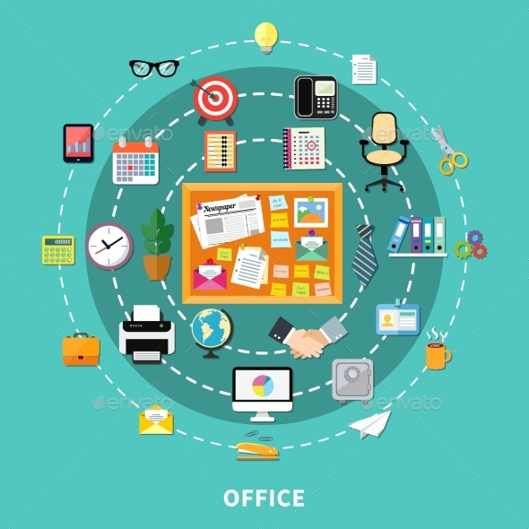 Office Decorative Icons Set In Circle Order - Concepts Business