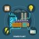 Power Plant Design Vector Illustration