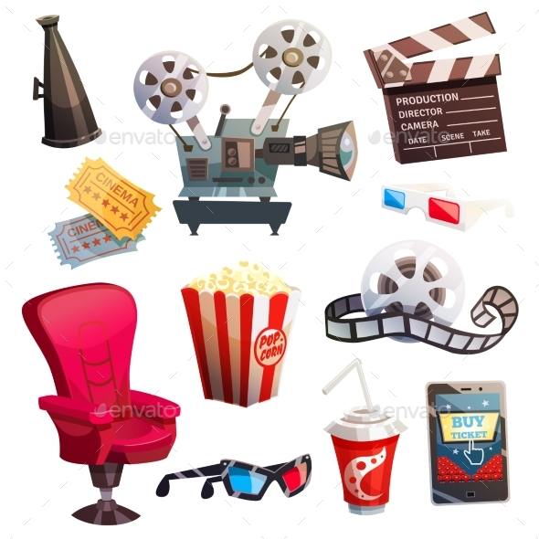 Set Of Colored Isometric Cartoon Cinema Icons - Man-made Objects Objects