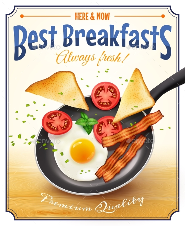 Restaurant Breakfast Advertisement Retro Poster - Food Objects