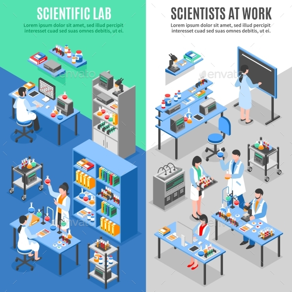 Science Lab Vertical Banners - Conceptual Vectors