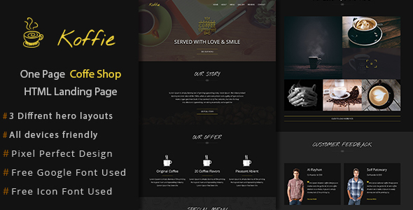 Koffie One Page HTML Landing Page - Landing Pages Marketing