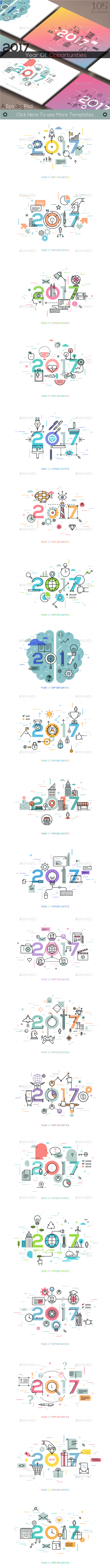 2017 Year Of Opportunities (105 Templates) - Web Elements Vectors
