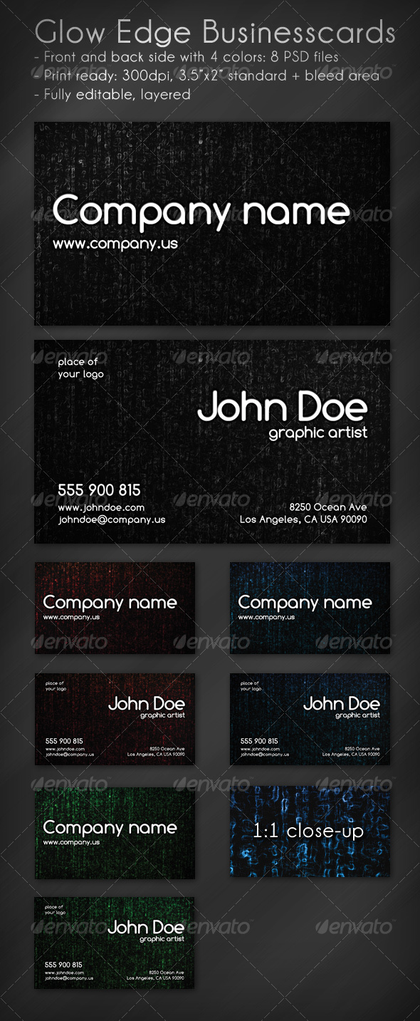 Glow Edge Business Card - Grunge Business Cards