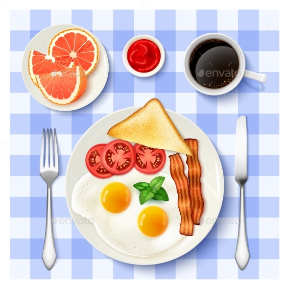 American Full Breakfast Top View Image - Food Objects