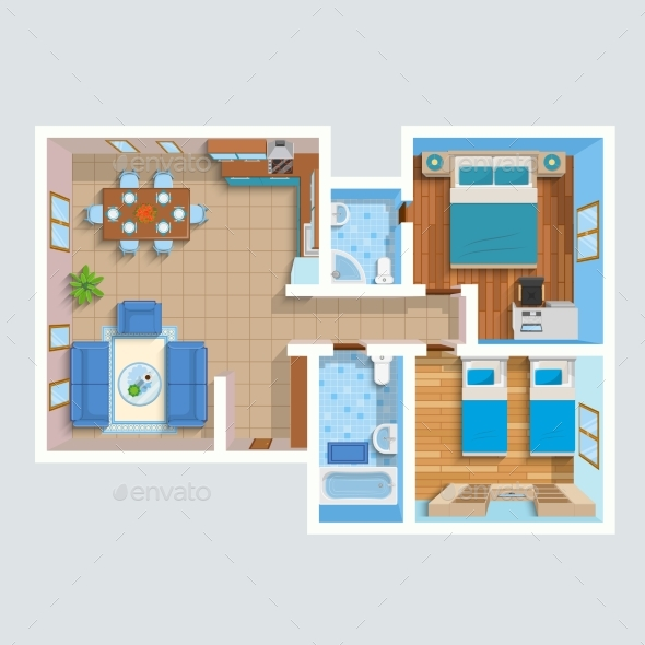 Top View Flat Interior Plan - Abstract Conceptual