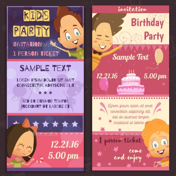 Kids Party Invitation Banners - Birthdays Seasons/Holidays