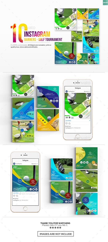 10 InstagramPost Banner-Golf Tournament - Banners & Ads Web Elements