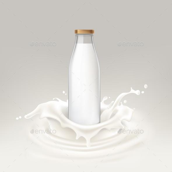 Vector Illustration Bottle Full of Milk - Food Objects
