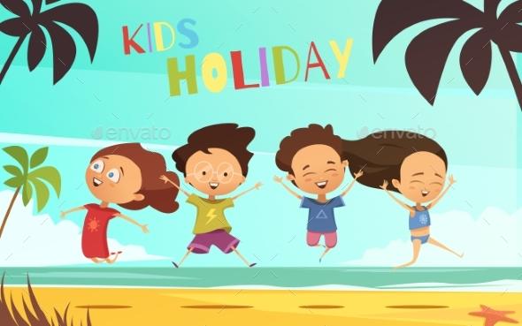 Kids Holiday Flat Vector Illustration - Backgrounds Decorative