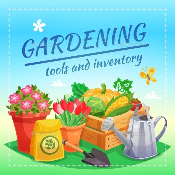Gardening Tools And Inventory Design Concept - Decorative Symbols Decorative