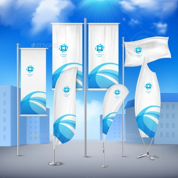 Flag Banners Collection Color Sky Background - Buildings Objects