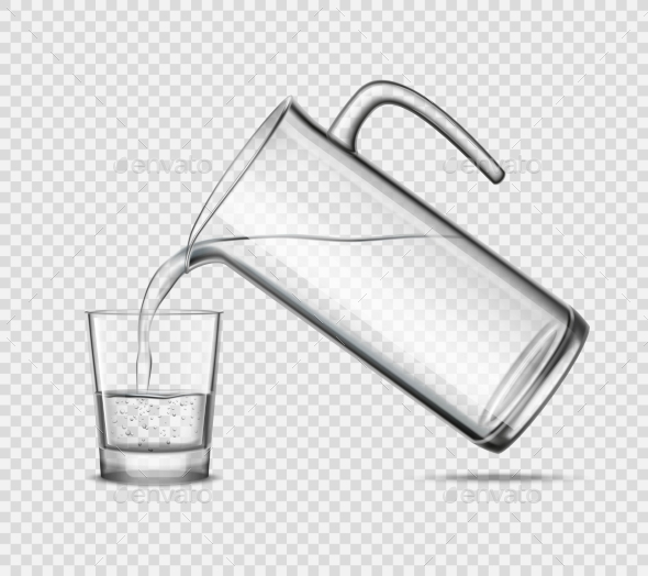 Pouring Water in Glass on Transparent Background - Man-made Objects Objects