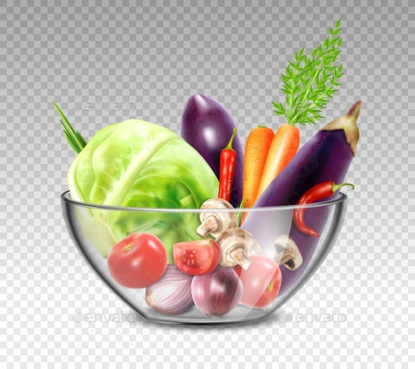 Realistic Vegetables In Glass Bowl - Decorative Symbols Decorative