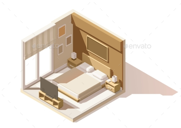 Vector Isometric Low Poly Bedroom Icon - Buildings Objects