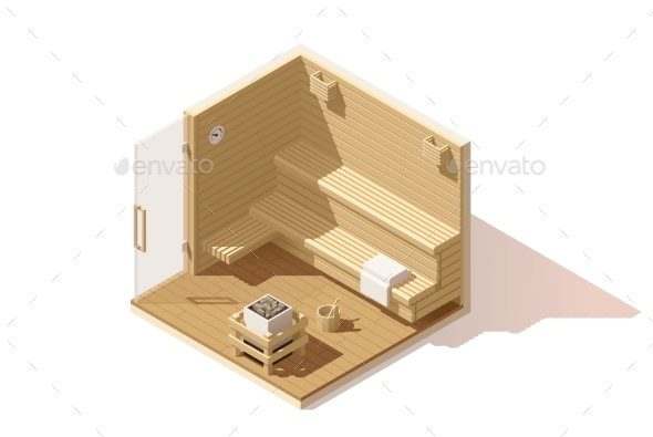 Vector Isometric Low Poly Sauna Room Icon - Buildings Objects