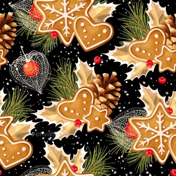 Seamless Gingerbread and Holly - Christmas Seasons/Holidays