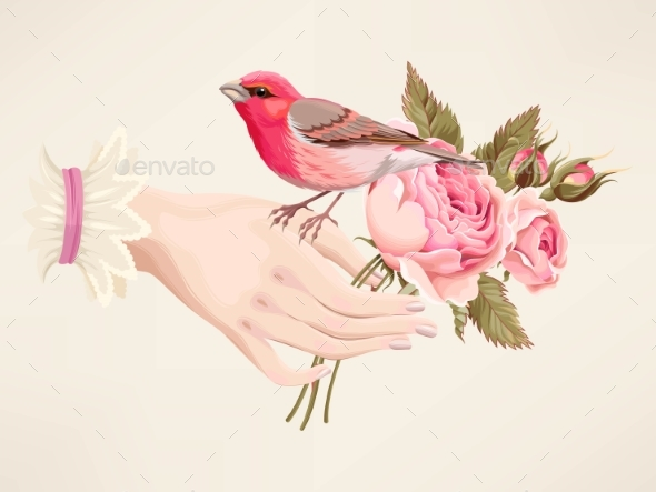 Illustration of Hand with Roses - Flowers & Plants Nature